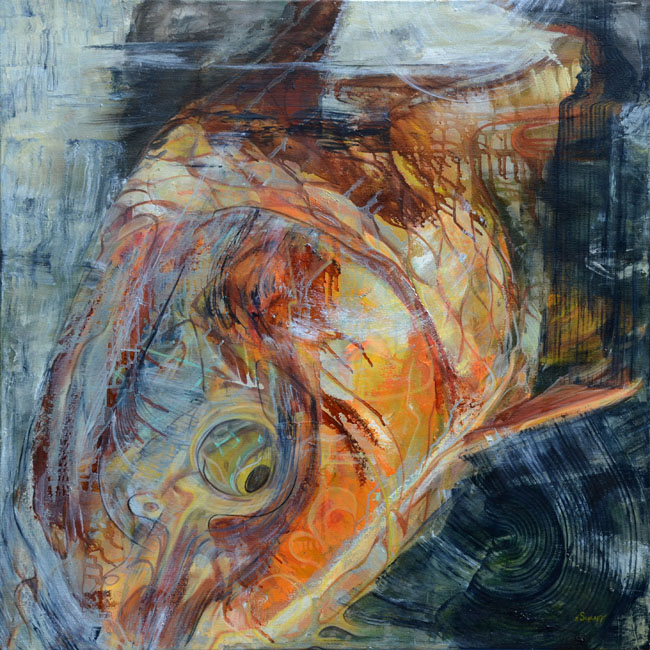 carp painting- carp abstract giclee- fly fishing art, Fly Fishing Bait